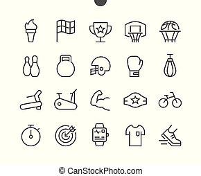 doskonały, sieć, wektor, 48x48, część, piktogram, naturalne ikony, 2-2, well-crafted, apps., ui, cienki, grafika, ruszt lina, sport, pixel, minimalny