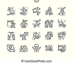 doskonały, sieć, wektor, piktogram, ikony, prosty, 30, 2x, śnieg, pixel, well-crafted, apps., ruszt, cienki, grafika, świat, kreska, dzień, minimalny