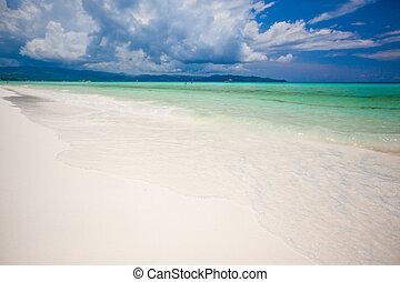 doskonały, tropikalny, turkus, boracay, filipiny, woda, piasek, biała plaża, plaże