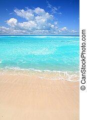 doskonały, turkus, karaibski, słoneczny, morze, plaża, dzień