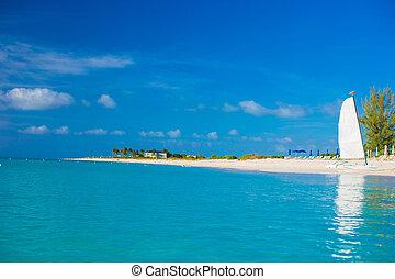doskonały, turkus, karaibski, woda, biała plaża