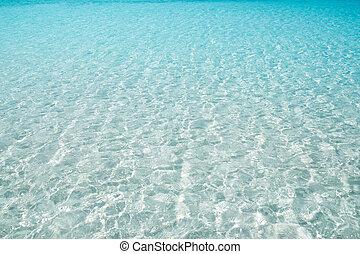 doskonały, turkus, woda, piasek, biała plaża