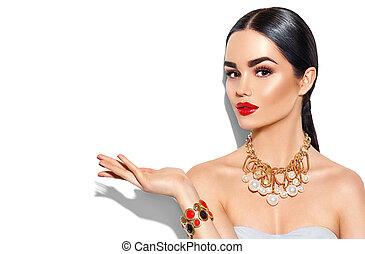 doskonały, złoty, kobieta, kopiować przestrzeń, pokaz, makijaż, młody, przybory, dłoń, modny, sexy, ręka otwarta, opróżniać