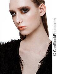 doskonały, złoty, piękno, makijaż, czarnoskóry, skóra, wzór