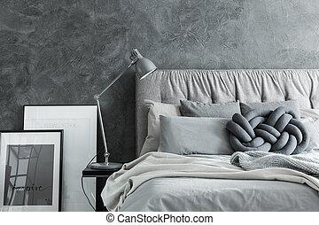 dosseret, gros plan, chambre à coucher, gris