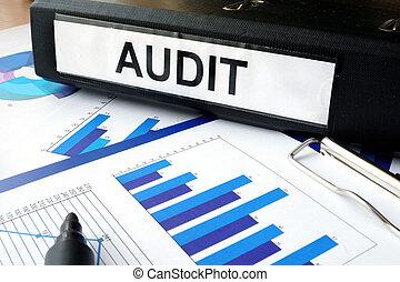 dossier, à, les, étiquette, audit