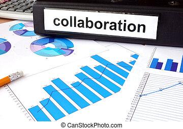dossier, à, les, étiquette, collaboration