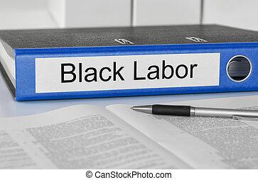 dossier, à, les, étiquette, noir, main-d'œuvre
