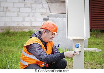 dossier, électricien