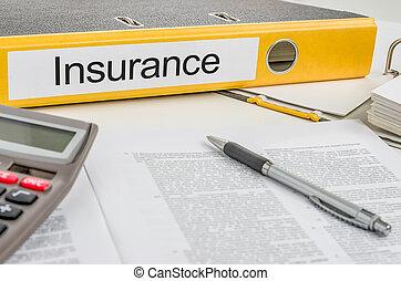 dossier, assurance, étiquette