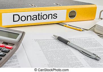 dossier, donations, étiquette