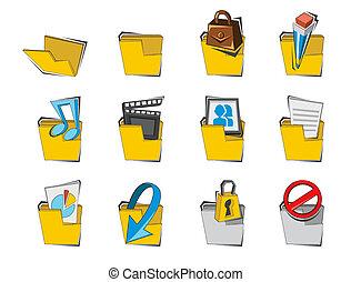 dossier, ensemble, doodled, collection, icône