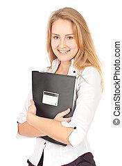 dossier, femme, jeune, business