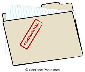 dossier, fichier, confidentiel, manille