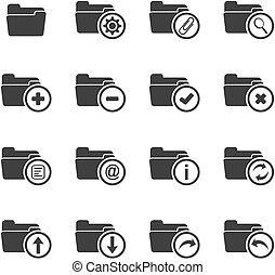 dossier, icône, ensembles