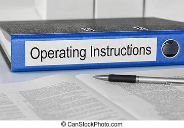 dossier, instructions, opération, étiquette