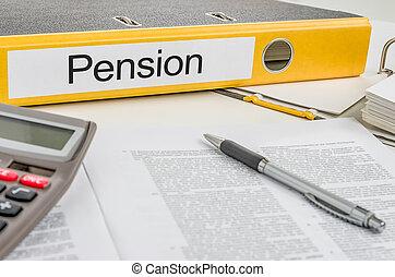 dossier, pension, étiquette
