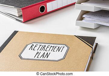 dossier, projet retraite, étiquette