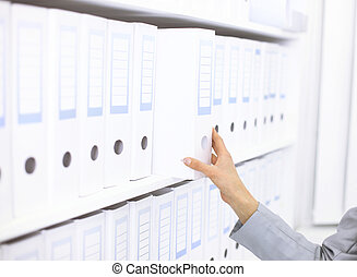 dossiers, étagère, documents