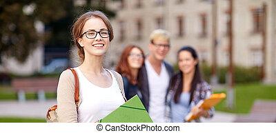 dossiers, étudiants, adolescent, école, heureux