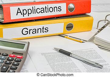 dossiers, applications, subventions, étiquette