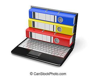 dossiers, archive., ordinateur portable, écran, instead