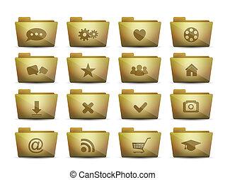 dossiers, différent, ensemble, vecteur, icônes