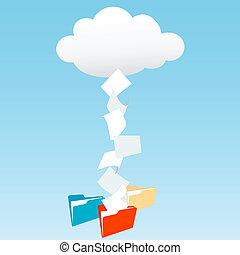dossiers, données, nuage, fichier, calculer