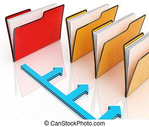dossiers, fichiers, organisé, correspondance, ou, spectacles