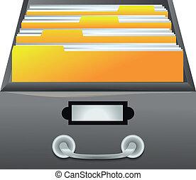 dossiers, fichiers, -, tiroir, catalogue, vecteur