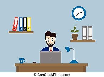 dossiers, fleur, bureau, séance, étagère, horloge, illustration, directeur, vecteur, bureau