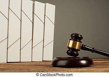 dossiers, gavel bois, fichier, juge, table.