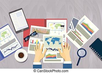 dossiers, homme, concept, financier, bureau, business, espace, sommet, mains, lieu travail, tenue, bureau, rapport, angle, copie, bannière, document, vue