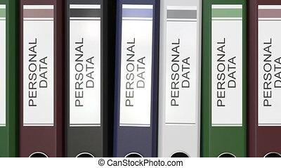 dossiers, multiple, bureau, personnel, texte, étiquettes,...