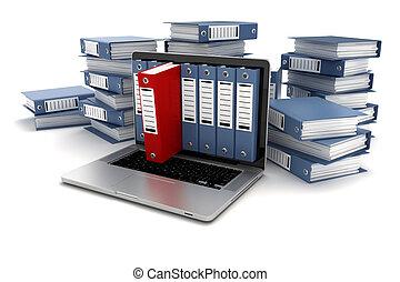 dossiers, ordinateur portable, fond blanc, 3d