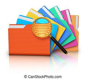 dossiers, recherche, verre, fichier, magnifier, concept: