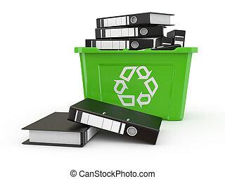 dossiers, recycler, bin., 3d