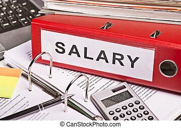 dossiers, salaire, fichier, étiquette