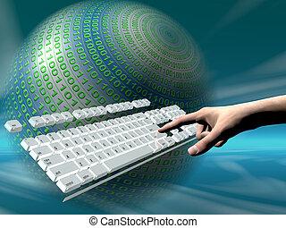 dostęp, internet, klawiatura