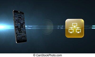 dostęp, połączenie, smartphone, internet, głoska., sieć