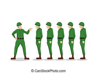 dostając, armia, odizolowany, ilustracja, jednolity, officer...