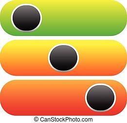 dostarczcie energii elektrycznej guzik, 3, stan, bez, poziomy, symbol