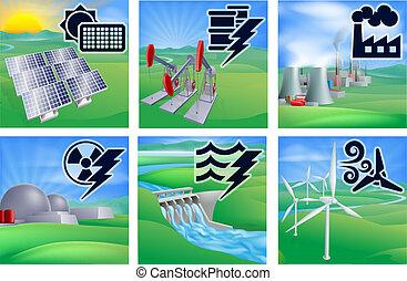 dostarczcie energii elektrycznej i energia, ikony