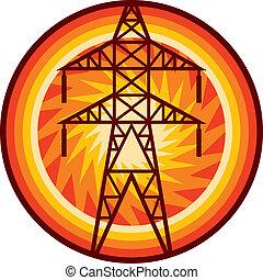 dostarczcie energii elektrycznej linę, symbol