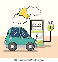 dostarczcie energii elektrycznej linę, wóz, stacja, elektryczny, recharge