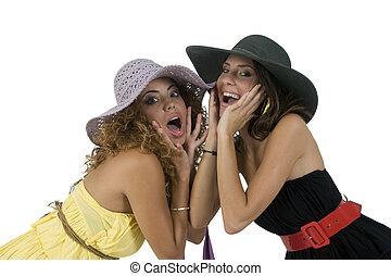 dosti, ženy, s, klobouk