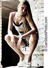 dosti, blond, děvče, městský, portrét