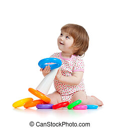 dosti, mladý dítě, nebo, kůzle, hraní, s, barva, hračka
