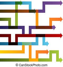dostosowania, wykres, strzała, strategia