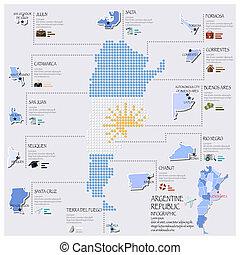 Vector Illustration Of Infographic Travel And Landmark Argentina - Argentina map shape